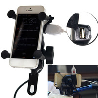 New 12V Bicycle Motorcycle Phone GPS Stand Holder USB Charger Power Outlet Socket For 3 5