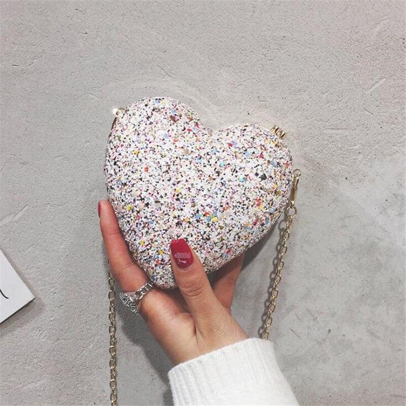 Handbag For Women Evening Wedding Banquet Peach Clutch Luxury Heart Shape Purse