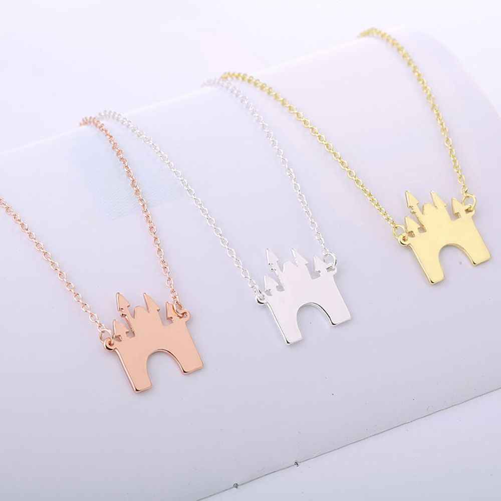 Castle Necklace Charming Fairy Tale Building Pendant Choker Chain Gift Fashion Jewelry Exquisite Simple Design Popular Classic