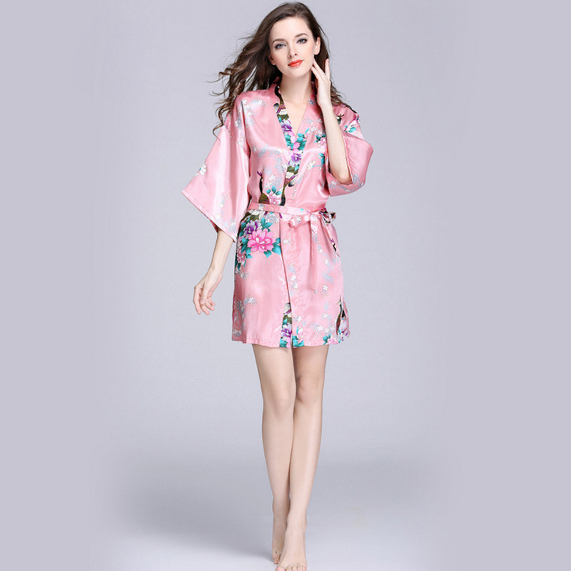 YT22 2018 Fashion Women Spring Summer Printed Faux Silk Sleeping Gown Half  Sleeves Mini Dress Bathrobe Sexy Sleeping Robes-in Robes from Underwear ... f48fc3e56