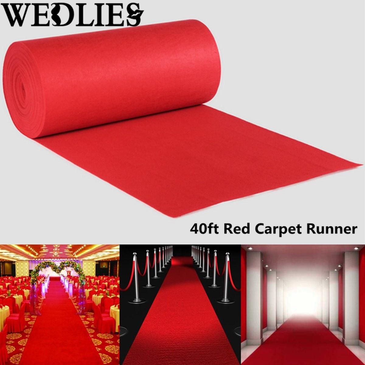 1200X100cm Large Polyester Red Carpet Wedding Aisle Floor Runner Graduation Celebration Party Opening Ceremony Decoration