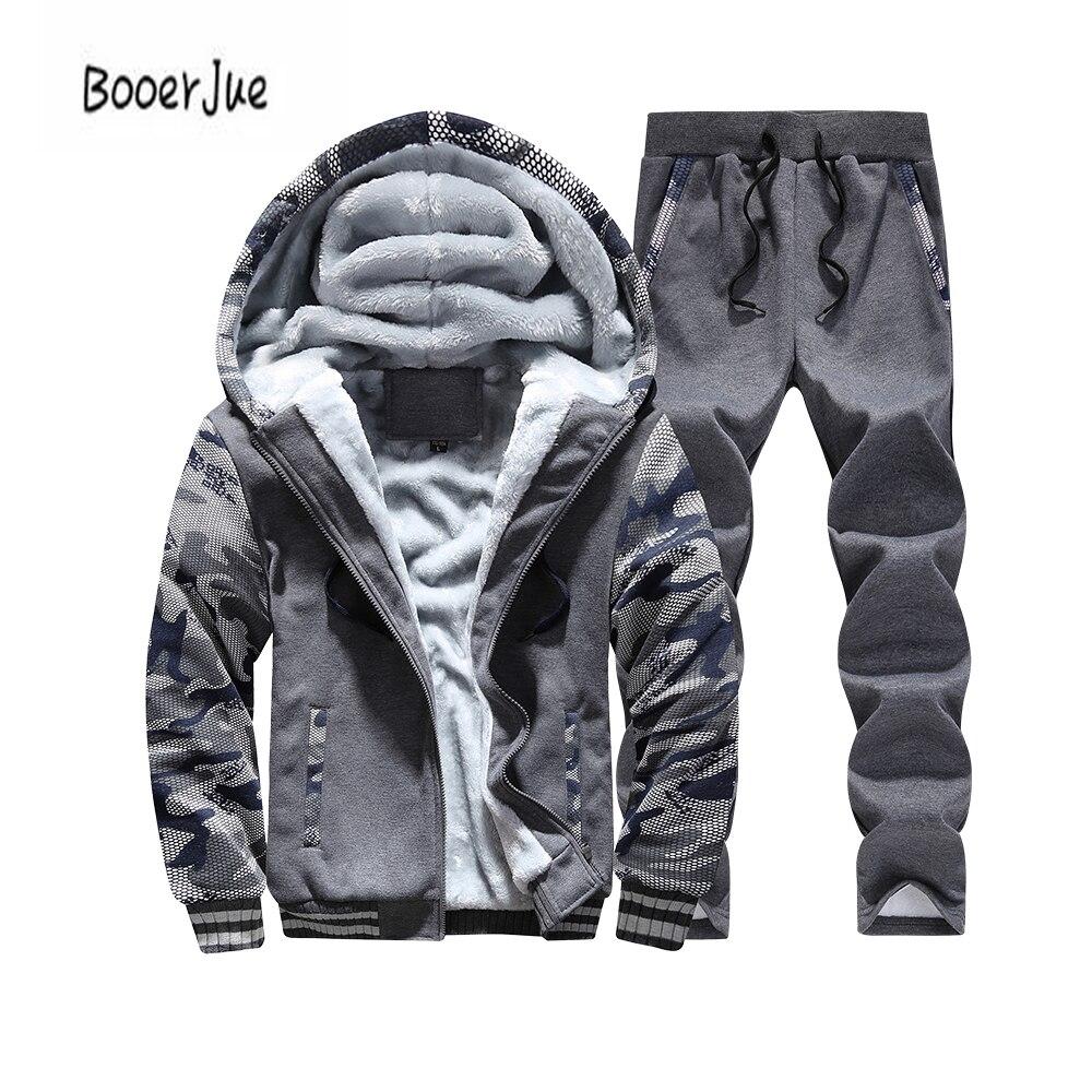 Trainingsanzug Männer Winter Dicke Innere Fleece 2 stück Jacke + Hose Männer Camouflage Armee Casual Kapuze Warme Sweatshirt Männlichen Moleton masculino