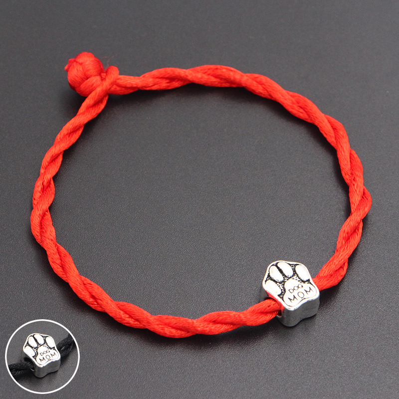 2020 New Dog Mom Paw Prints Beads 4mm Red Thread String Bracelet Lucky Red Handmade Rope Charm Bracelet for Women Men Jewelry