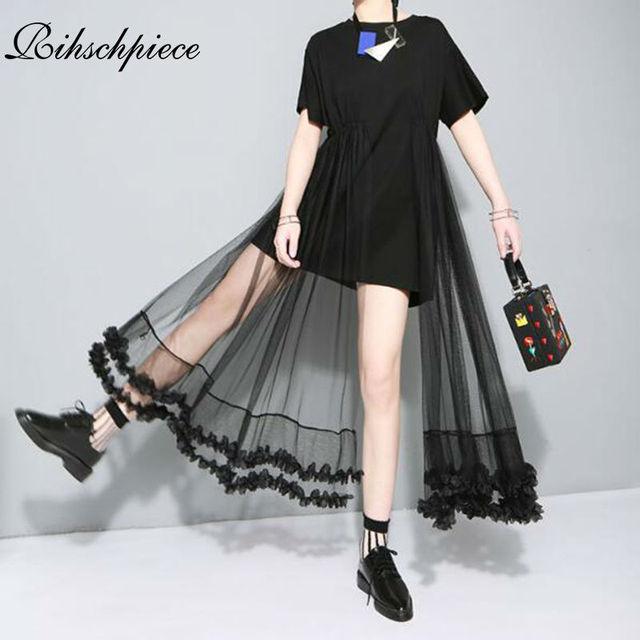 8dea3ca9c Rihschpiece verão túnica feminina vestido de renda gaze das plus size maxi  branco mulheres vestido preto