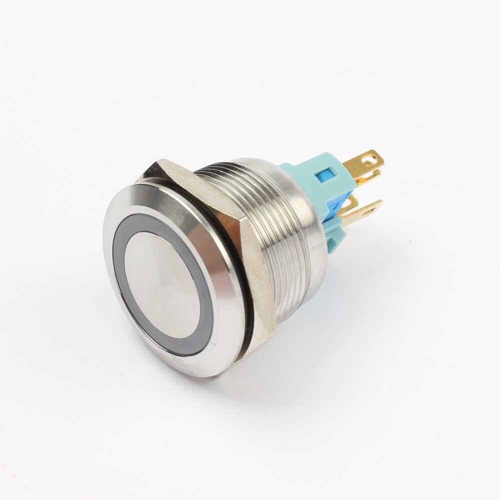 22 มม.กันน้ำสวิทช์ปุ่มกดสแตนเลสแหวนโคมไฟแบนรอบ Self ล็อค NO NC 22HX. s. k6