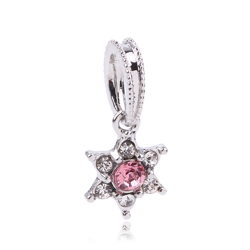 dodocharms Fit Original Pandora Charm Beads Bracelet Silver Color Forget Me Not Flower Pendant DIY Jewelry Accessories Gift