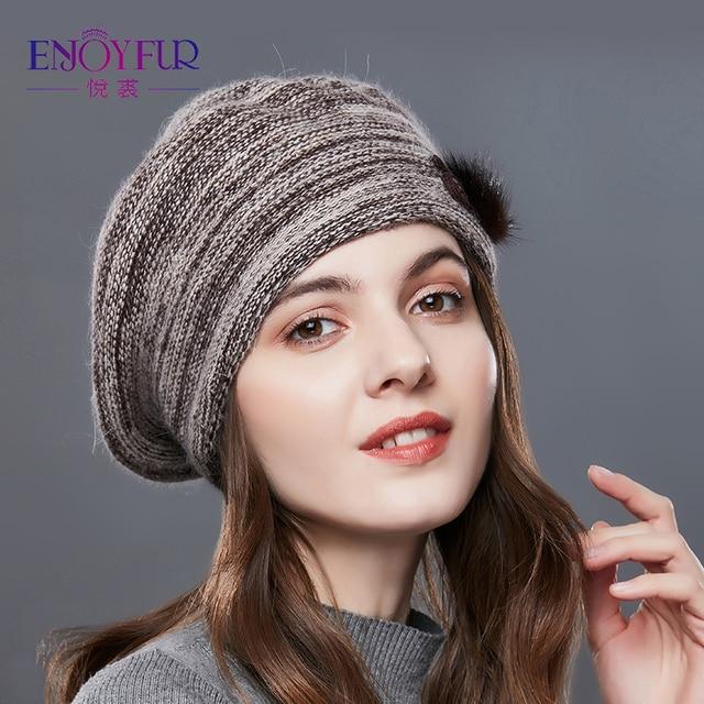 Enjoyfur Мода Mix Цвет Беретки для женщин шляпа женский Кашемир помпоном лоскутное Для женщин зимние Шапки Леди среднего возраста теплая вязаная шапка
