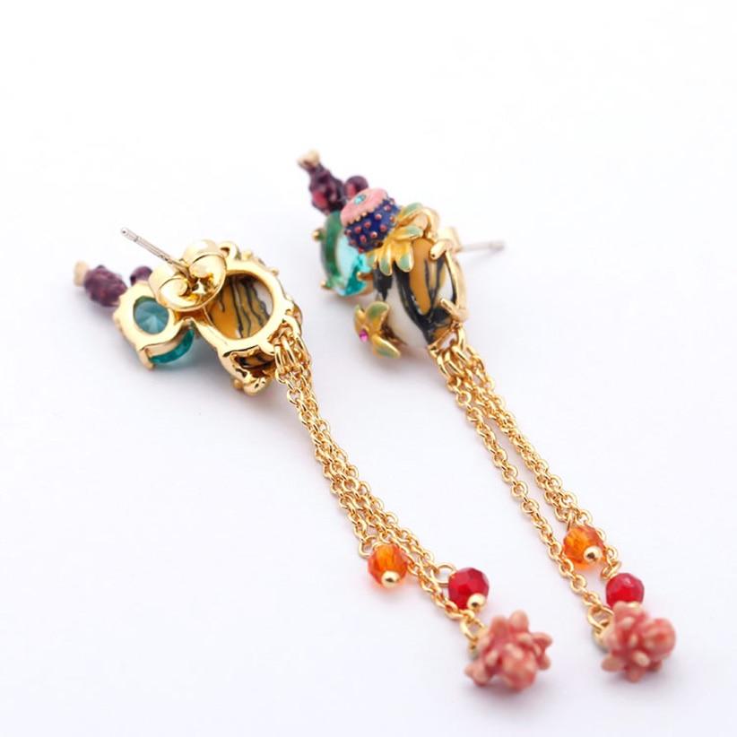 Juicy Grape Cactus Teal Crystal Tassel Long Stud Earrings Fashion Jewelry Women Charm Jewellery Boucle D Oreille Earrings