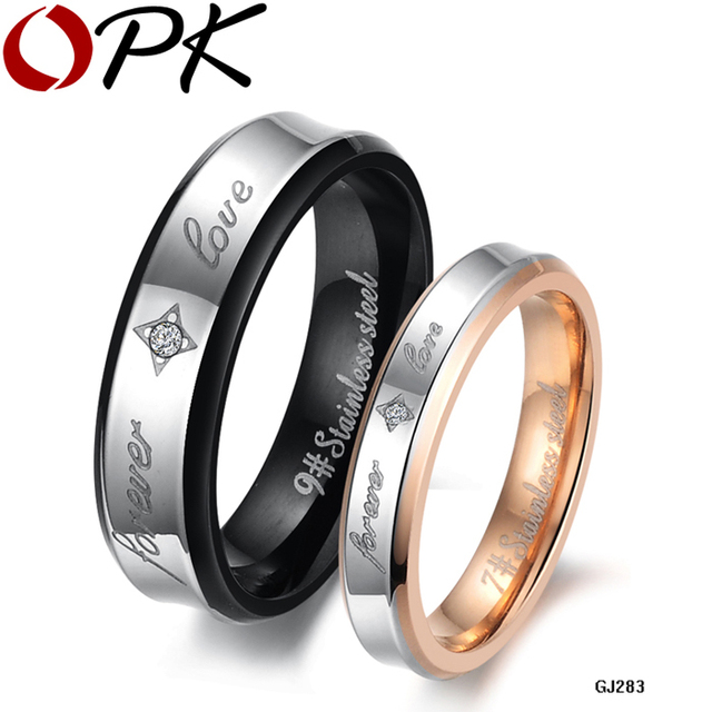 OPK Christmas Lover's gift stainless steel couple finger rings Wedding Bands retro style Cubic Zirconia GJ283