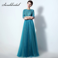 Elegant Half Sleeve Lace Appliques Formal Evening Dresses with Beaded Pearls Tulle Long Open Back Mother of Bride Dress LX016
