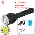 Дайвинг светодиодный фонарик 18650 CREE XM 5 * L2 Свет перезаряжаемые Профессиональные открытый дайвинг фонарик
