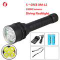 Diving led flashlight 18650 CREE XM 5 * L2 Light rechargeable Professional outdoor diving flashlight
