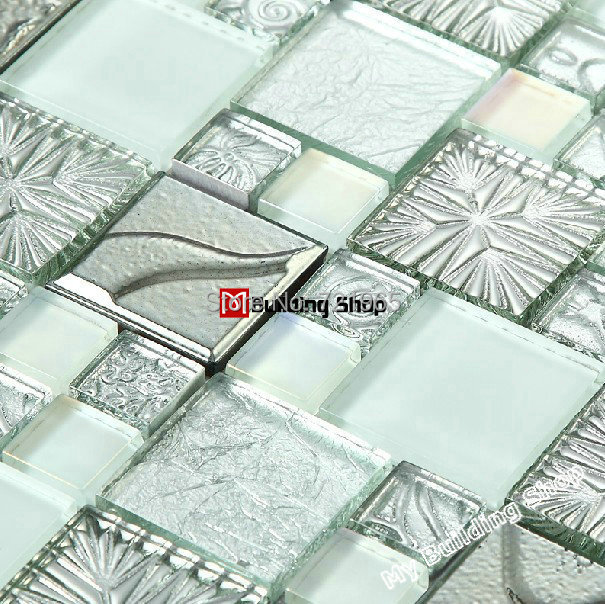 3D Glass mosaic tiles SSMT255 silver metal stainless steel tile