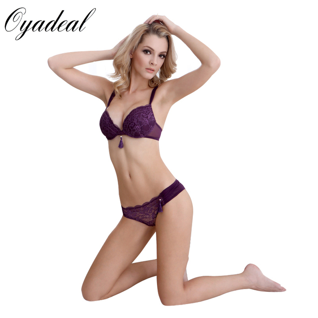 b7f3bf382e527 Oyadeal Women Underwear Push Up Bra Sets Sexy Top deep V Bra set Lace  Panties Briefs