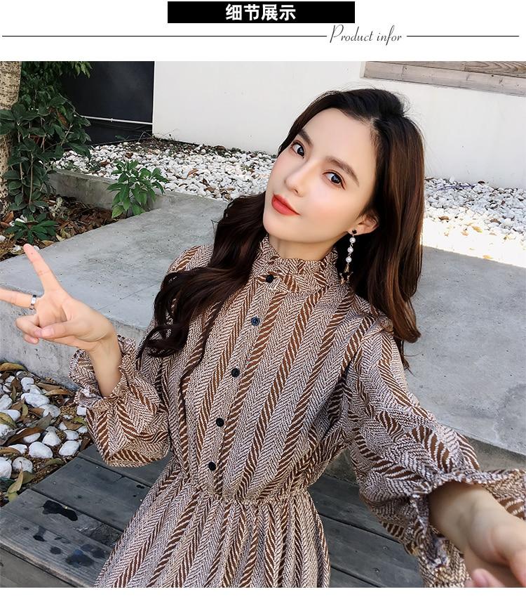 Women chiffon dress 2019 spring autumn female vintage print elegant a-line dress long sleeve loose casual office lady dress 20