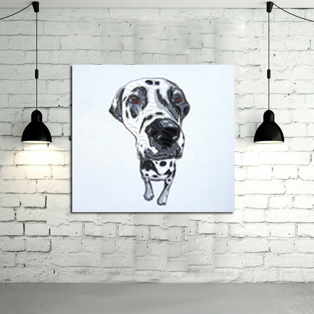 Canvas Painting Quality Animal Wall Art Oil Painting Cuardros Decor Dog Wall  Pictures Cool Dog Home