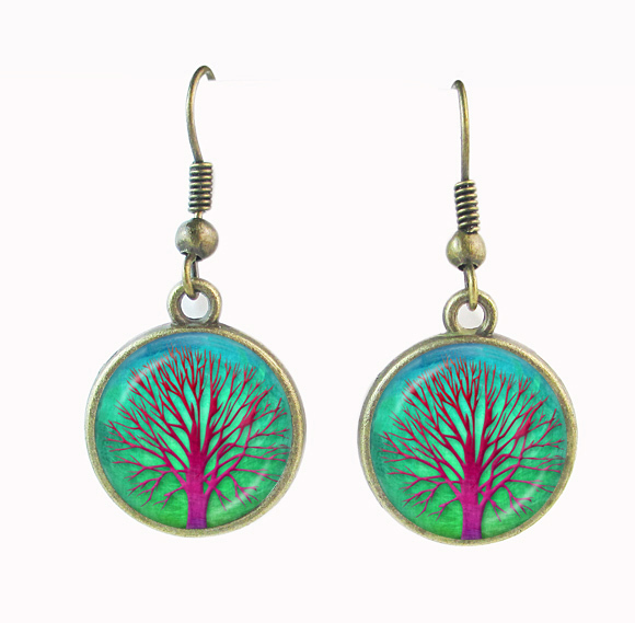 Buy Antique earrings bronze red tree earring glass cabochon dangle earring tree of life earrings for women Chrostmas gifts wholesale for $2.69 in AliExpress store