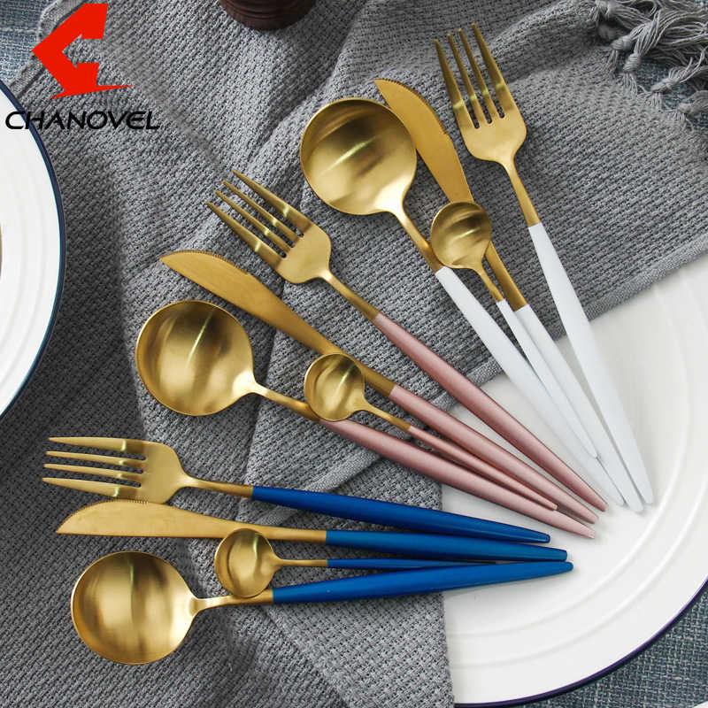 CHANOVEL Hot Sale 4 Pcs/Set Colorful Dinnerware Set 304 Stainless Steel Western Cutlery Set Kitchen Food Tableware Dinner Set