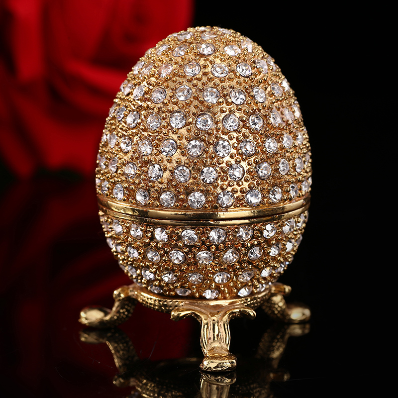 Qifu gold color diamond small egg gift boxes for jewellery