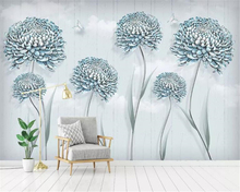 Beibehang Custom 3D Wall Mural Wallpaper Home Decor Small fresh flower dandelion 3D Photo Wallpaper For Living Room Bedroom beibehang custom wallpaper mural 3d blue flower hotel living room wall 3d wallpaper wall sticker wallpapers for living room