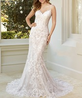 Robe de mariee Spaghetti Straps Lace Mermaid Wedding Dress Backless Sexy Abiti da sposa Court Train Wedding Gowns Brautkleid