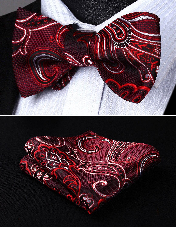 1bf7facccb70e Party Pocket Square Classic Wedding BP936US Burgundy Black Paisley Bowtie  Men Silk Self Bow Tie handkerchief set-in Men's Ties & Handkerchiefs from  Apparel ...