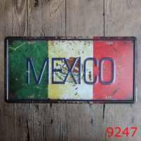 MEXICO flag license plate Art Vintage Souvenir Poster Pub Gift Iron Painting Metal bedroom Decor 30X15CM