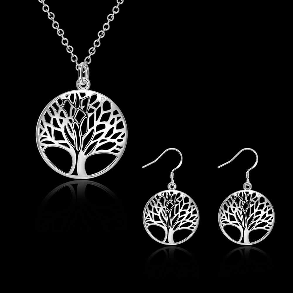 S828 2018 bulk sale 925 silver Life tree bridal party jewelry sets