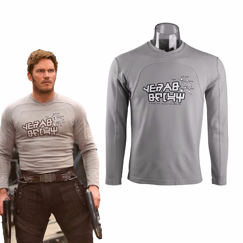 Cos Guardians of the Galaxy 2 Top Costume Peter Jason Quill Cosplay Star Lord T-shirts Man Long Sleeve Tee Cotton Halloween