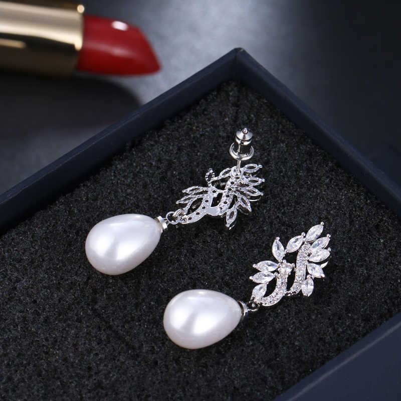 2018 חדש סגלגל מדומה פרל עגילים לנשים CZ אבן Drop Earrrings עלה עגילי תכשיטים Brincos AE557
