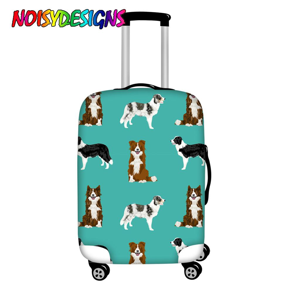 NOISYDESIGNS Luggage Protective Dust Cover Border Collie Print Travel Trolley Covers Thick Travel Luggage Accessories Custom