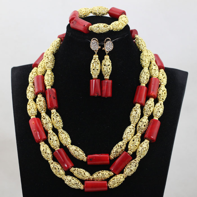 Fashion African Beads Jewelry Sets Dubai Jewelry Sets Red Nigerian Wedding African Coral Jewelry Sets QW1103 цены онлайн