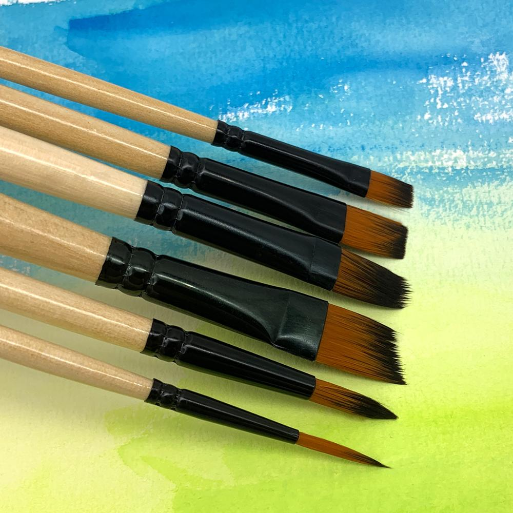 6Pcs Different Size Wood Paint Brush Set Nylon Hair Painting Brushes For Watercolor Acrylic Oil Painting Art Supplies