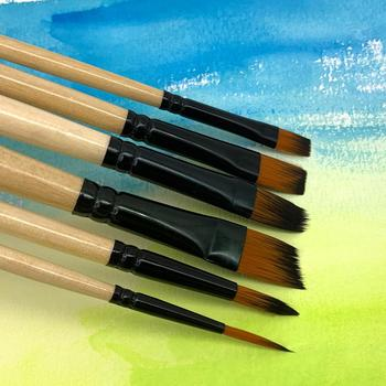 6Pcs Different Size Wood Paint Brush Set Nylon Hair Painting Brushes for Watercolor Acrylic Oil Painting Art Supplies 12 wood artist paint brush suits wood palette nylon hair watercolor acrylic painting brush artistic supplies