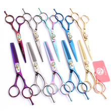 6 Purple Dragon 440C Barber Makas Professional Hairdressing Scissors Cutting Shears Thinning Hair Set Z1020