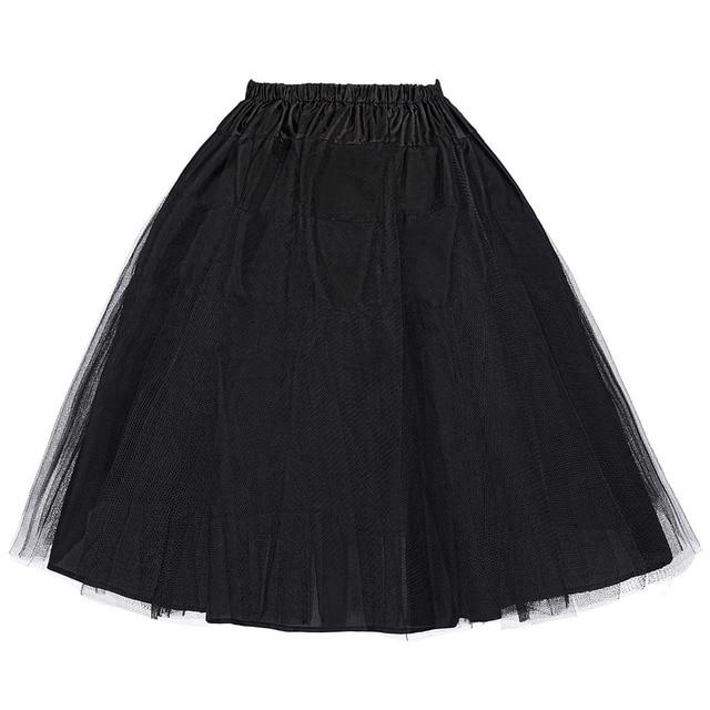 Миди юбка нижняя юбка 3 слоя 2016 летние женщины старинные кринолайн тюль белый черный рокабилли подъюбники юбки дешевые