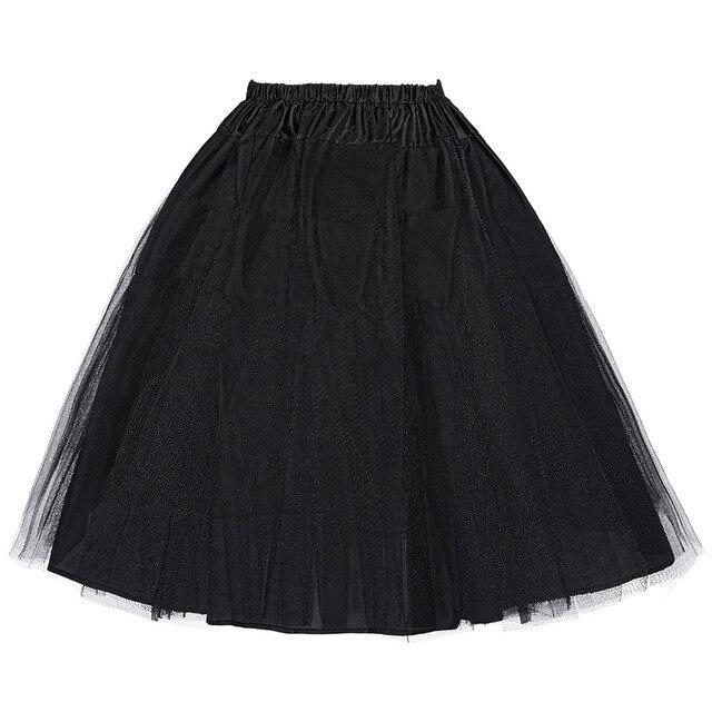 Midi skirt Underskirt Petticoat 3 Layers 2016 summer women Vintage Crinoline tulle white black rockabilly petticoat skirts cheap