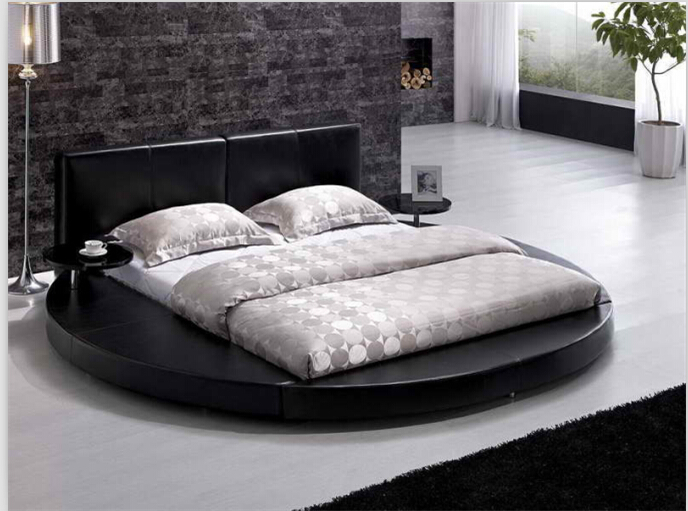 round beds round king size beds modern bedroom furniture with genuine leather black - Cheap Bed Frame