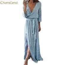 Trendy Style Divat Női Hosszú ujjú V Neck nyomtatott Hosszú Maxi öltözött öv Drop szállítási ajándékok