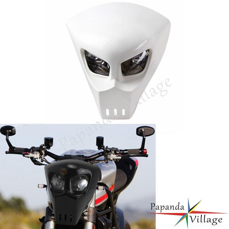 Universal White 12V Custom Street Fighter Motorcycle Front Headlight Fairing StreetFighter Racing Skeleton Skull Headlamp