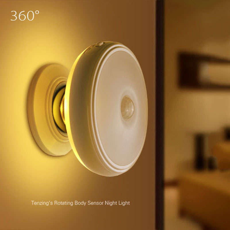 Motion Sensor light 360 Degree Rotating Rechargeable LED Night Light Security Wall lamp for Home Bedroom
