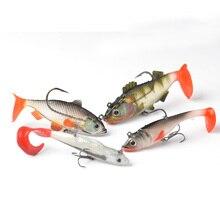 TOMA 4PCS Long Tail Soft Lead Fish Fishing Lures Luminous Sea Fishing Tackle Soft Bait Bass Lure With Treble Hooks