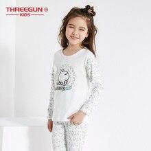 THREEGUN X Tuzki Kids Pajama Sets Warm Pajamas for Toddler Girls Cotton Long Thermal Underwear Sleepwear Clothing
