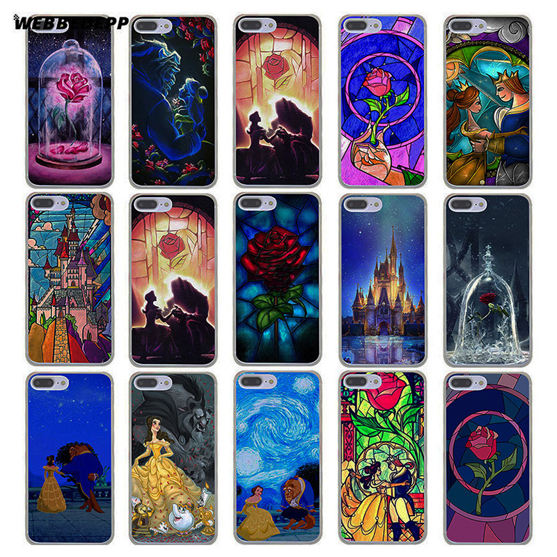 WEBBEDEPP Beauty And The Beast Hard Transparent Cover Case for iPhone 7 Plus 6 6s Plus 5 5S SE 5C 4 4S