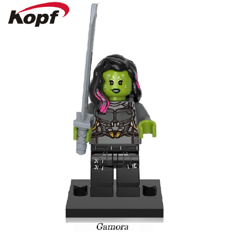 Wholesale 50Pcs Super Heroes Gamora Guardians of the Galaxy Chessman Rocket Racoon Building Blocks Toys for children Gift XH 609