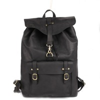 Vintage Black Genuine Oil Wax Leather Backpack For Man Real Cowhide Large Double Zipper Classic Male Travel Rucksack Bags