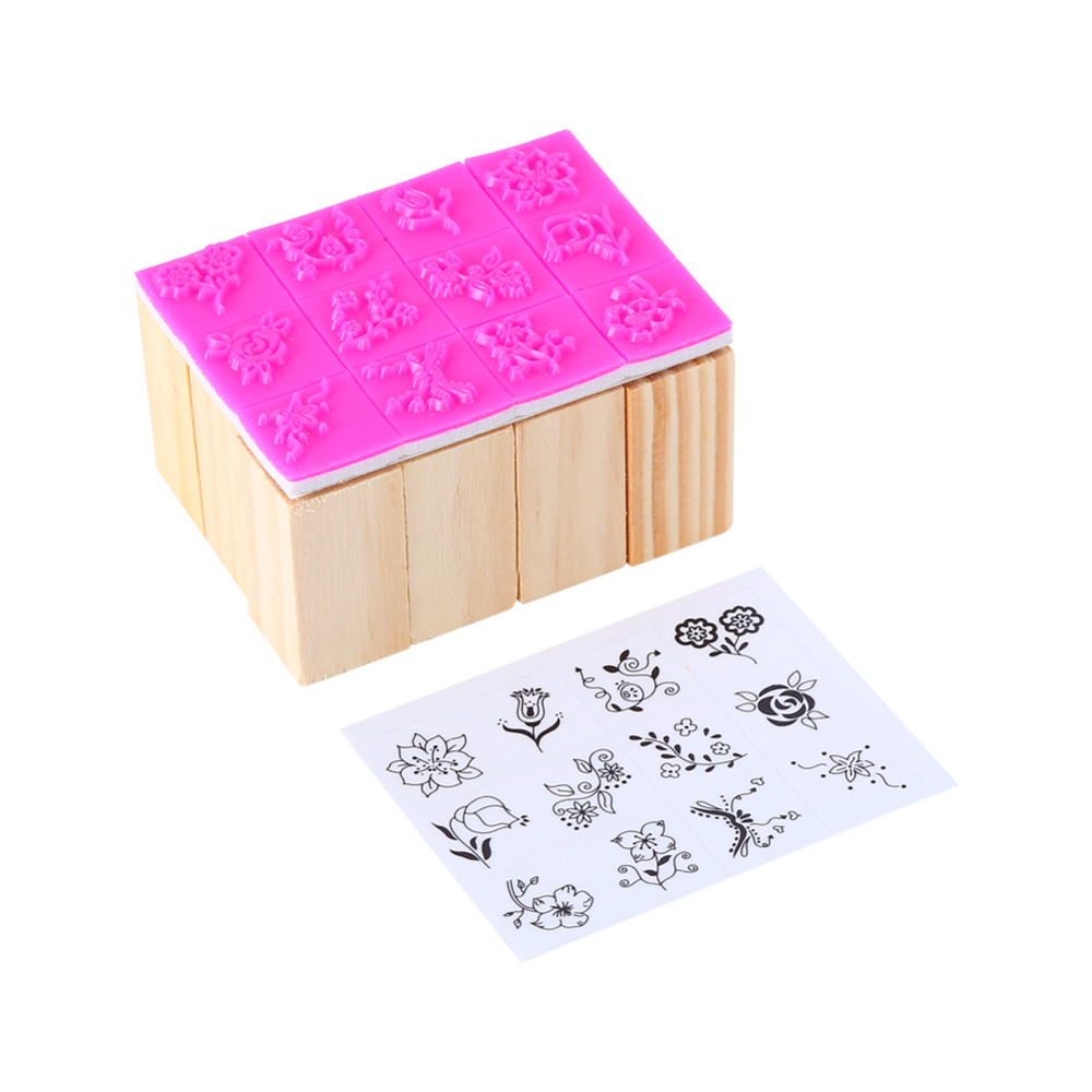 How to scrapbook good - W Vintage Flower Lace Pattern Square Wooden Rubber Stamp 12pcs Bag Letters Diary Diy Craft