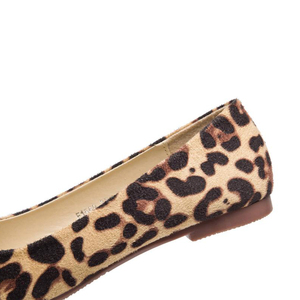 Image 5 - BEYARNELadies Leopard Printed Flats Square Toe Driving Shoes Grey Red Soft Slip ons For Pregnancy Women Breathable Plus SizeE709