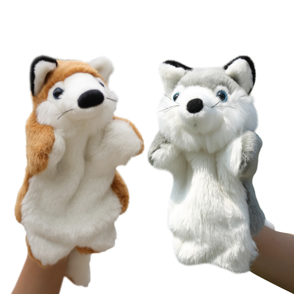 plush toy nice stereo wolf hand puppet bedtime story stuffed doll ventriloquism