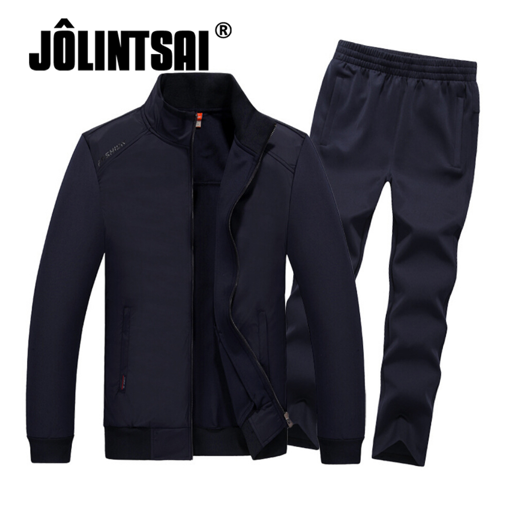 Jolintsai 2017 Men's Brand Tracksuits Set Jacket+Pants Sporting Suit Plus Size 4XL 5XL 6XL 7XL 8XL Fitness Clothing men plus size 4xl 5xl 6xl 7xl 8xl 9xl winter pant sport fleece lined softshell warm outdoor climbing snow soft shell pant